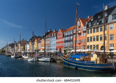 Denmark, Copenhagen, capital of Denmark. City center and the district of Nyhavn near the canals