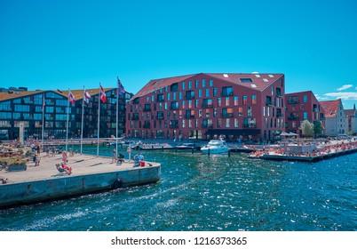 Denmark, Copenhagen - Jule 1, 2018: Modern and comfortable residential buildings in the city center