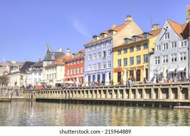 DENMARK, COPENHAGEN - May 02.2013: Picturesque houses along channels in city