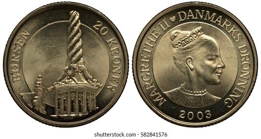 Denmark Danish coin 20 twenty krona 2003, twisted tower of Copenhagen stock exchange, bust of Queen Margrete II right,