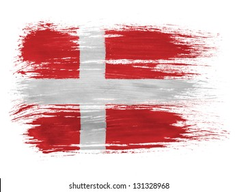 Denmark. Danish flag  on white background