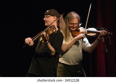DENMARK DK APRIL 23 2008: Fairport Convention performing on stage at a concert in Soenderborg, Denmark, april 23 2008: Ric Sanders, Chris Leslie