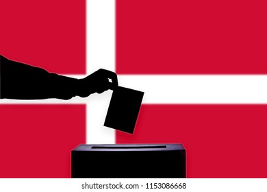 Denmark flag with ballot box during elections / referendum