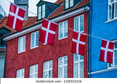 denmark flag - copenhagen color houses