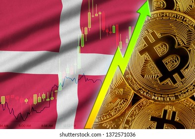 Denmark flag and cryptocurrency growing trend with many golden bitcoins