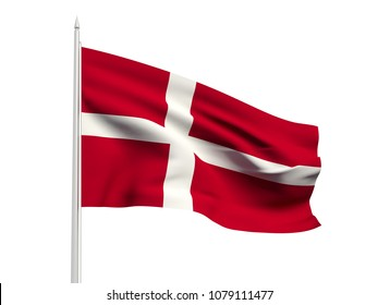 Denmark flag floating in the wind with a White sky background. 3D illustration.