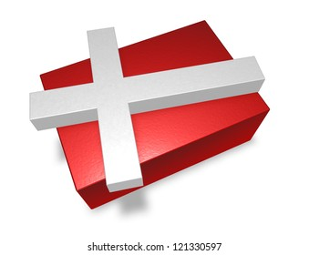 denmark flag pieces on white background - 3d illustration