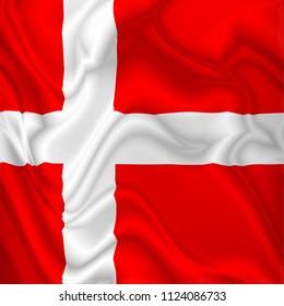 Denmark Flag Waving Digital Silk Satin Fabric