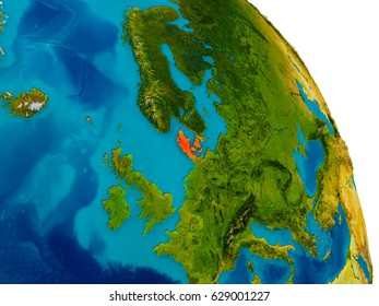 Jamaica highlighted red on physical map stock illustration 635571677 denmark highlighted in red on detailed model of planet earth 3d illustration elements of gumiabroncs Images