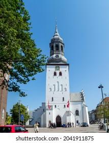Denmark - July 24, 2021: A wedding in Budolfi Church (Budolfi Kirke). Budolfi Church is the cathedral church for the Lutheran Diocese of Aalborg in north Jutland, Denmark.