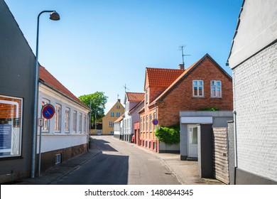 NEXØ, DENMARK - JUNE 30 - 2019: Streets on the danish island Bornholm in the city of Nexø