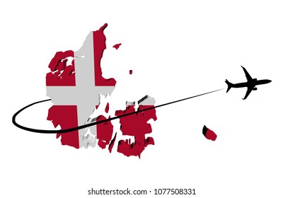 Denmark map flag with plane silhouette and swoosh 3d illustration