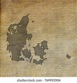 Denmark map old sketch hand drawing on vintage background