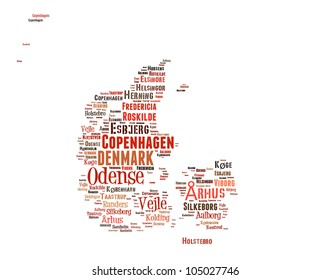 DENMARK map words cloud of major cities with a white background