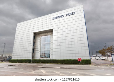 Denmark - October 10, 2014: The delivery office building and a huge window on the facade of modern buildings. Denmark, Århus