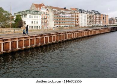 Denmark - October 10, 2014: Quay of the Kystvejen in Århus