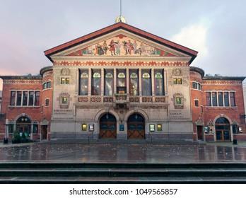 Denmark - October, 18. 2014: Aarhus Theater - Square Bispetorvet at dawn.