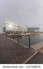 Denmark - October 18, 2014: NSI - navitas Aarhus - Center for Education, Research, Innovation, Entrepreneurship, Business Development and Bridge through the Canal