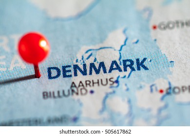 Denmark pinned on a map of Europe.