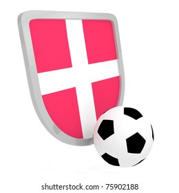 Denmark shield soccer isolated on a white background