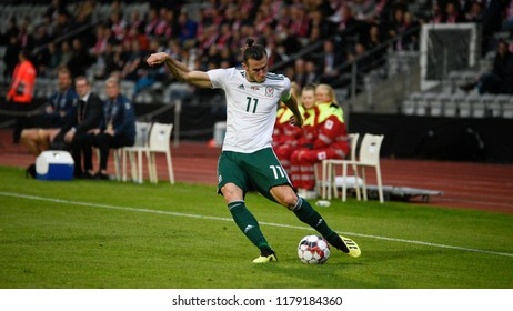 Denmark v Wales, Uefa Nations League, Ceres Park, Aarhus, 9/9/18: Wales and Real Madrid star Gareth Bale attacking against Denmark