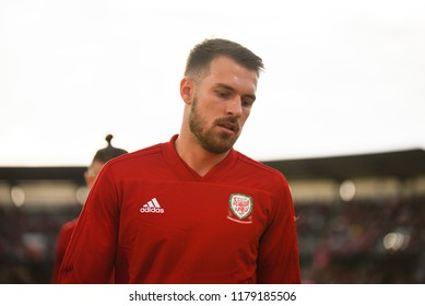 Denmark v Wales, Uefa Nations League, Ceres Park, Aarhus, 9/9/18: Wales' Aaron Ramsey warms up before the match against Denmark