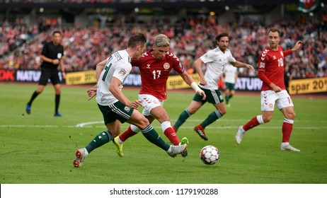 Denmark v Wales, Uefa Nations League, Ceres Park, Aarhus, 9/9/18: Wales' Connor Roberts crosses a ball past danish player Jens Stryger Larsen