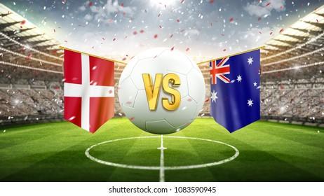 Denmark vs Australia. Soccer concept. White soccer ball with the flag in the stadium, 2018. 3d render