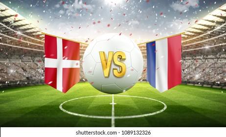 Denmark vs France. Soccer concept. White soccer ball with the flag in the stadium, 2018. 3d render