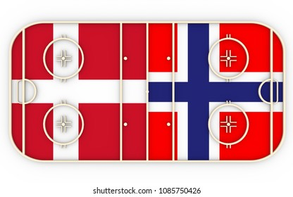 Denmark vs Norway. Ice hockey competition. National flags on playground. 3D rendering