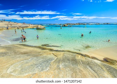 Denmark, Western Australia - Dec 30, 2017: people swimming in the sheltered waters of Greens Pool in William Bay NP, Albany Region. Popular summer destination in Australia.