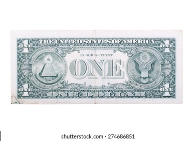 The denomination one dollar on the back side, isolated on  white background