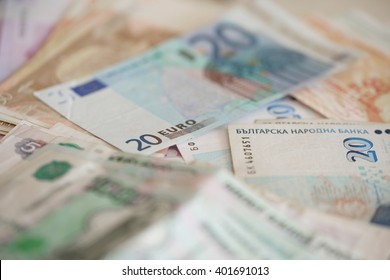 Denominations of currency of different countries closeup