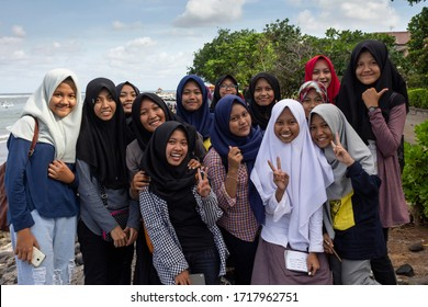 Denpasar, Bali/ Indonesia - 05 May 2018: Group of young indonesian muslim girls posing for camera