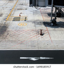 Denpasar, Bali, Indonesia - January 20th 2016 - Airport apron area where flights are parked showing floor markings for aircraft