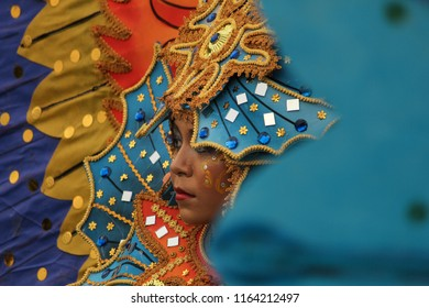 Denpasar, Bali / Indonesia - October 10 2016: A woman carries the culture of Indonesia (Gorontalo city ) in the event of World Culture Forum 2016.