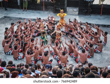 Denpasar, Bali / Indonesia - October 26th 2016: Kecak and Fire Dance held every day in Uluwatu Temple.  The dance based on the famous epic Hindu story of the Ramayana. And normally start at sunset.