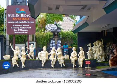 DENPASAR, BALI ISLAND, INDONESIA - SEPTEMBER 11, 2018: Beautiful sculptures on the street of the famous tourist destination.