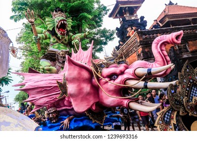 Denpasar, Bali - March 28, 2017: Nyepi Festival Balinese New Year crowning point dedicated to complete silence.