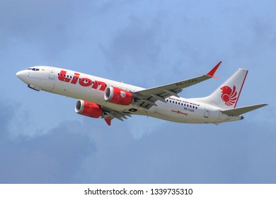 Denpasar, Bali/Indonesia - February 22-2-19- Lion Air Boeing 737 MAX 8 taking off from Ngurah Rai International Airport, Denpasar, Indonesia