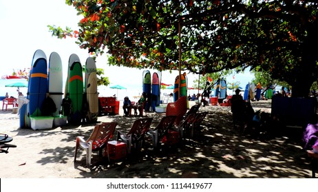 Denpasar, Indonesia - 09 17 2016: Surfboards stored on Kuta Beach