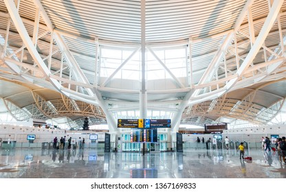 DENPASAR, INDONESIA - CIRCA MARCH 2019: Departure hall at Bali Gusti Ngurah Rai International Airport commonly known as Denpasar International Airport.
