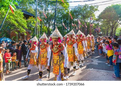 Denpasar / Indonesia - June 11, 2011: Dancer's parade at the annual Bali Arts Week event which can be watched free of charge for everyone