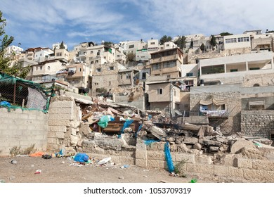 Dense architecture of Arab neighbourhood of Silwan, south of Jerusalem Old Town. Silwan is one of the very few neighborhoods in central Jerusalem were Palestinians still reside.