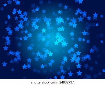 dense blue light pentagon shapes on dark blue background.