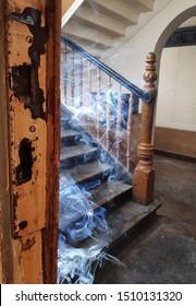 dense cigarette smoke in stairwell
