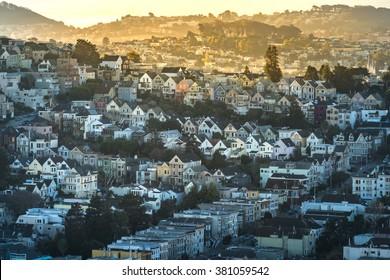 Dense hillside housing in urban San Francisco in the early morning