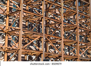 Dense iron scaffolding with rusty colors in an abstract pattern