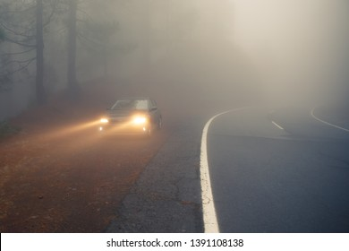dense mist forest road and car on the roadside with light beams
