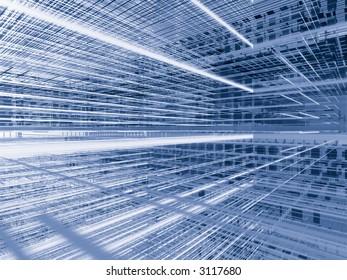 Dense silver blue wire 3 dimensional structure